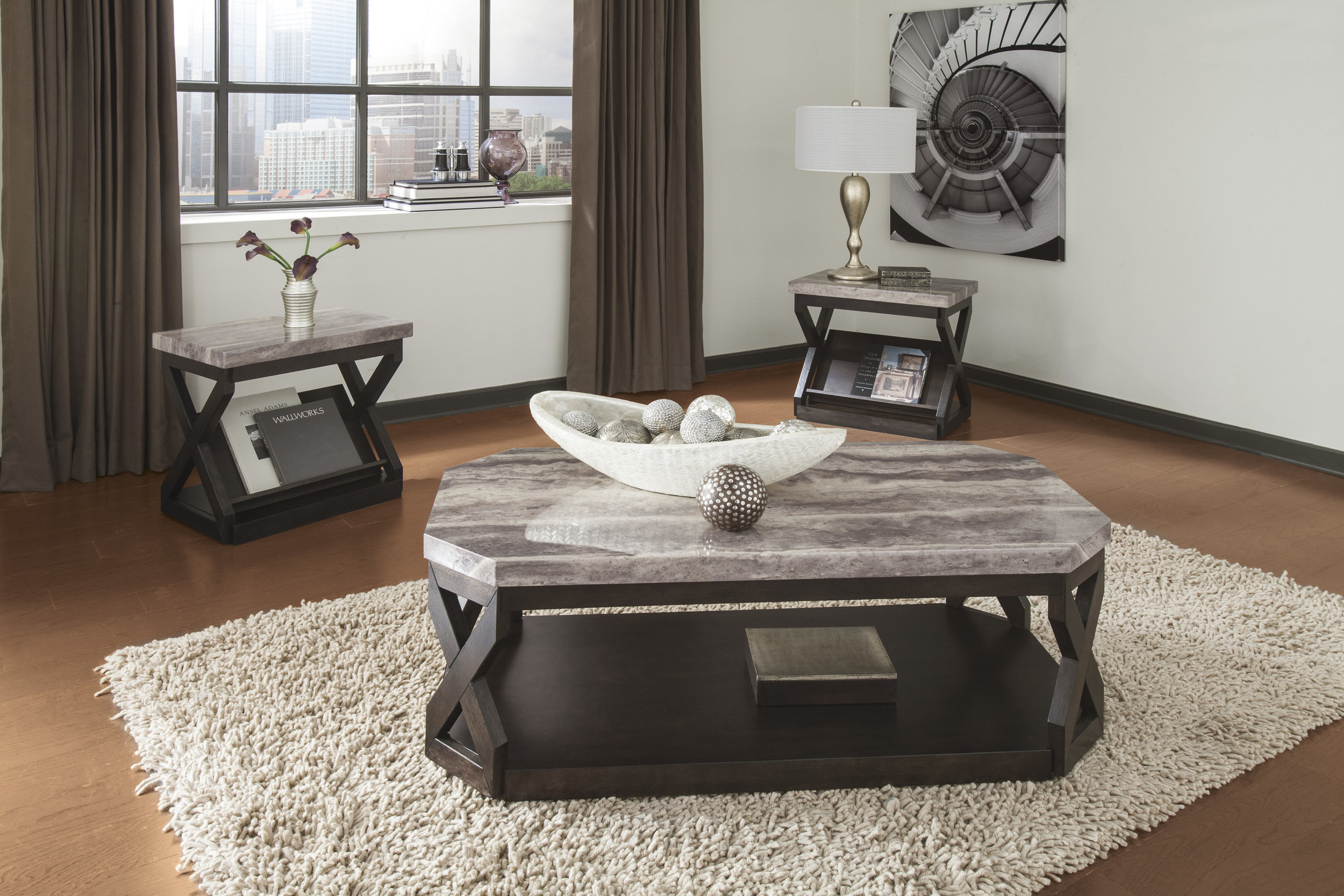 WAREHOUSE PRICE: $499.99 | MONTHLY PAYMENT $10 O.A.C 3PC TABLE SET