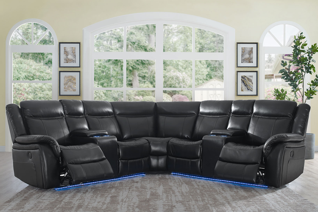 WAREHOUSE PRICE: $1999.99 | MONTHLY PAYMENT $42 O.A.C BLACK POWER RECLINING SECTIONAL