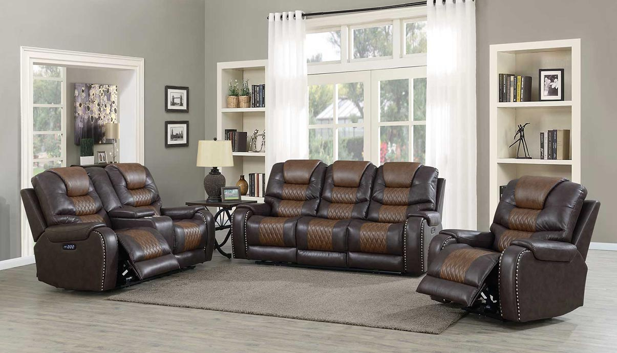 WAREHOUSE PRICE: $2699.99 | MONTHLY PAYMENT $57 O.A.C BROWN POWER RECLINING SOFA AND LOVESEAT