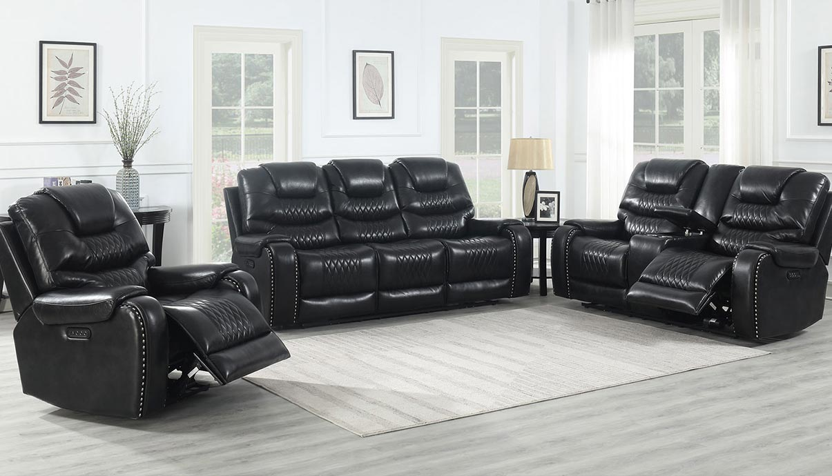 WAREHOUSE PRICE: $2699.99 | MONTHLY PAYMENT $57 O.A.C BLACK POWER RECLINING SOFA AND LOVESEAT
