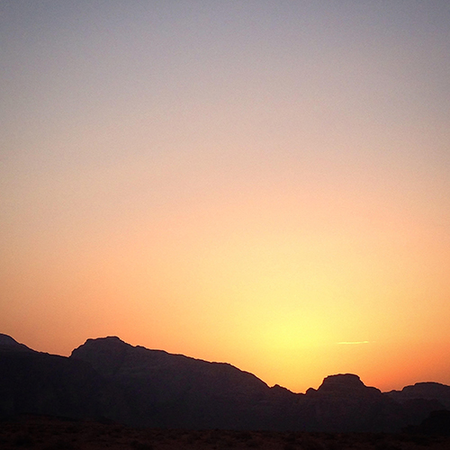 Beginning of a new day in Wadi Rum.