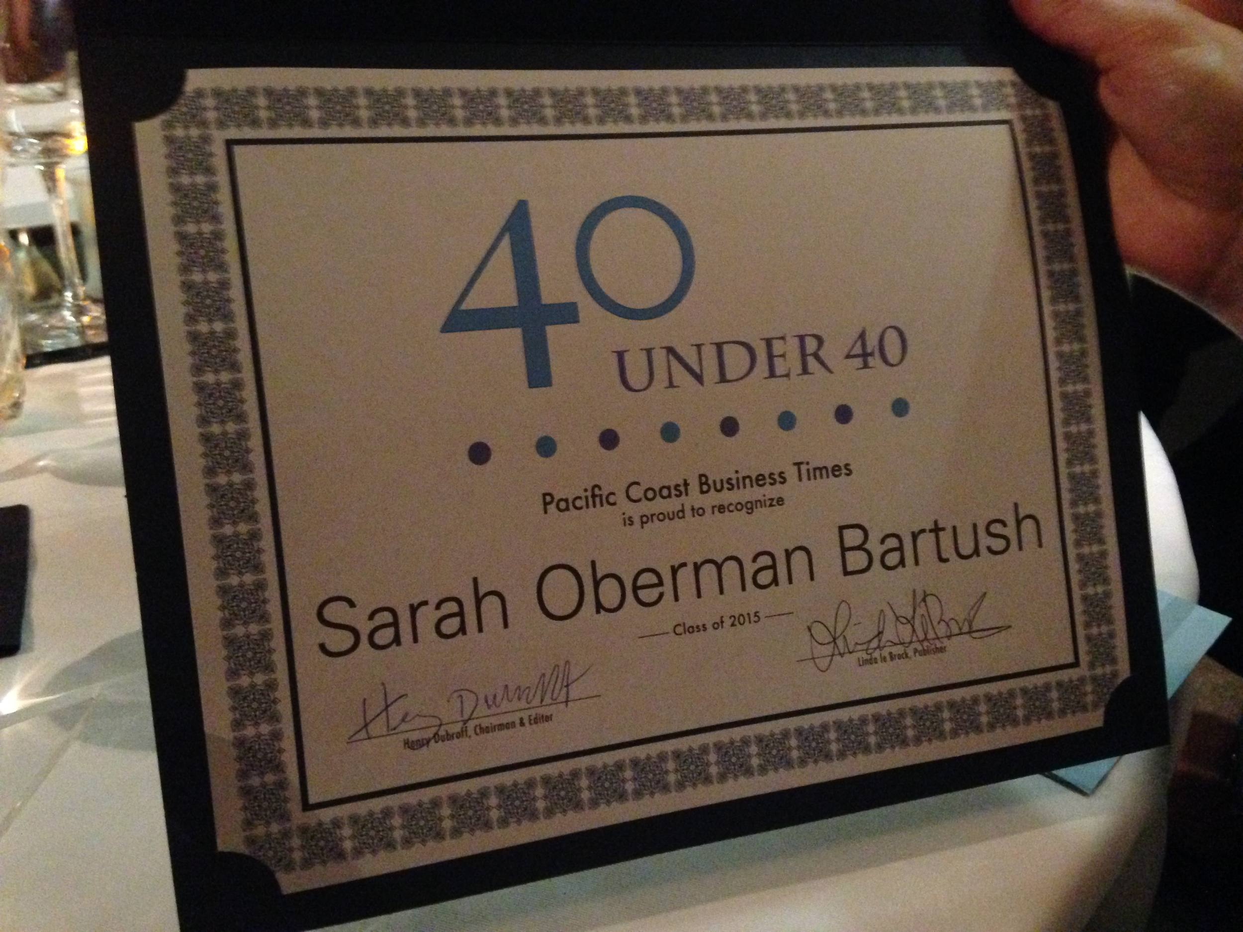 Sarah Oberman Bartush's 40 under 40 Award