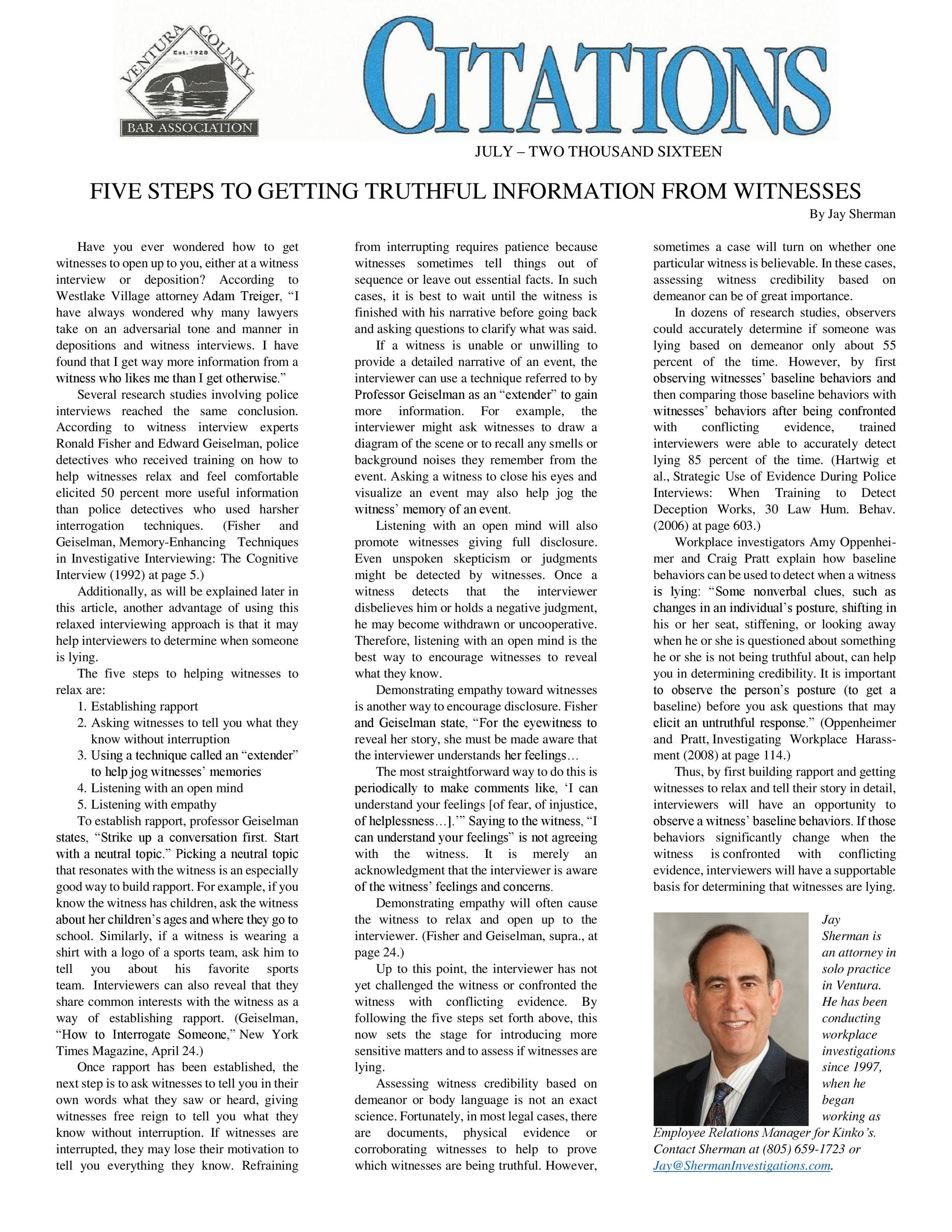 Our Client, Attorney Jay Sherman's OpEd, in Ventura Bar