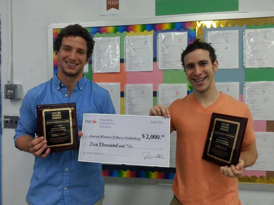Myself and one of the project collaborators receiving the ING Unsung Heroes Grant in 2013.
