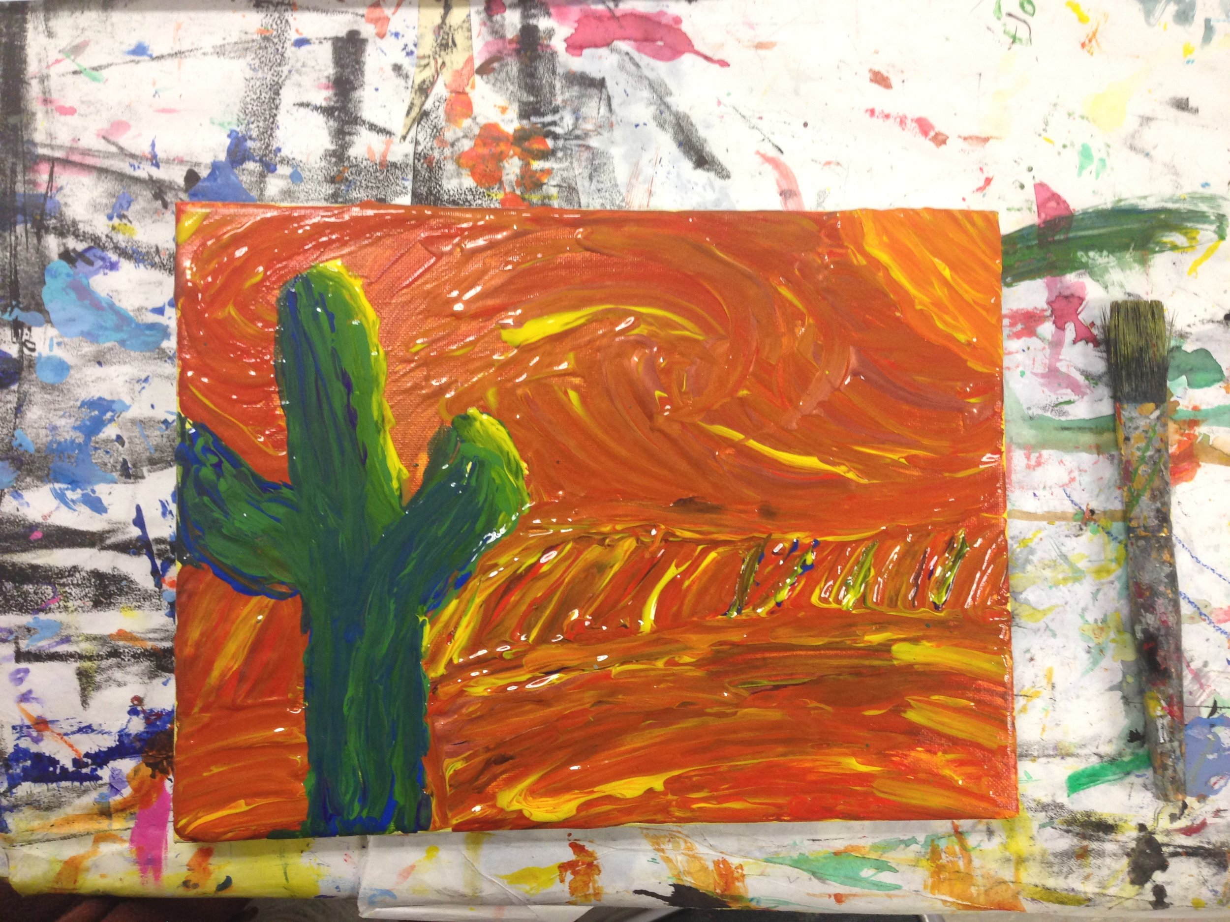 Teen class, artist studied the paintings of Vincent Van Gogh.