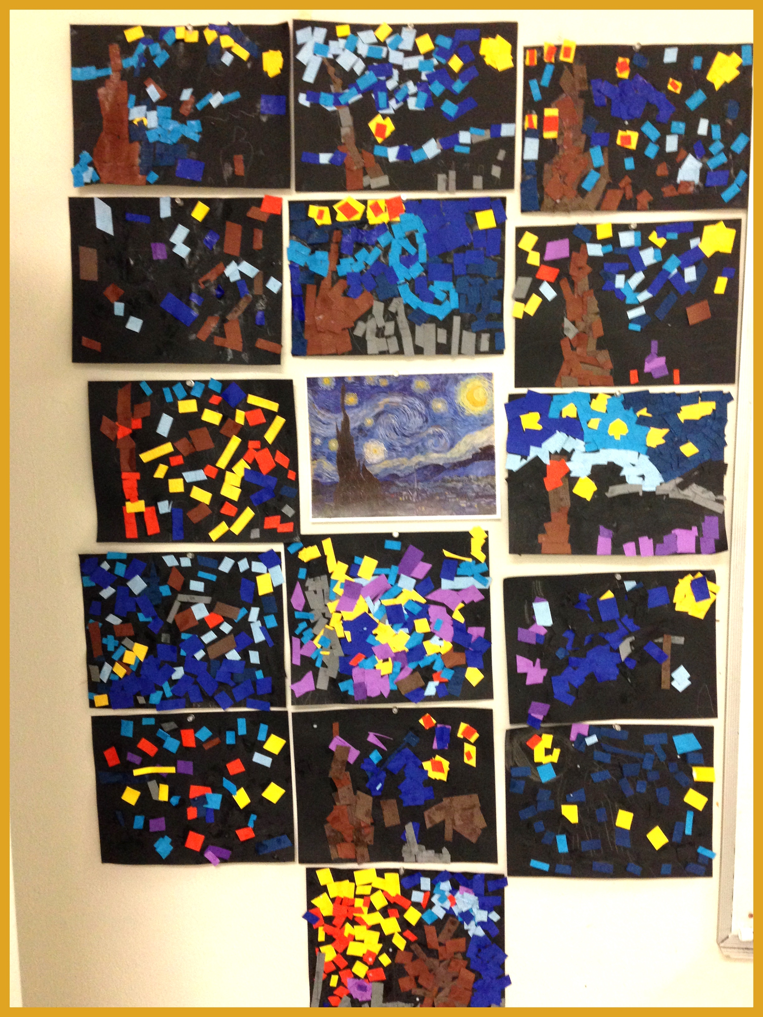 The youngest group of artists' had a blast recreating Van Gogh's starry night with colorful paper. Messy fingers were a must.