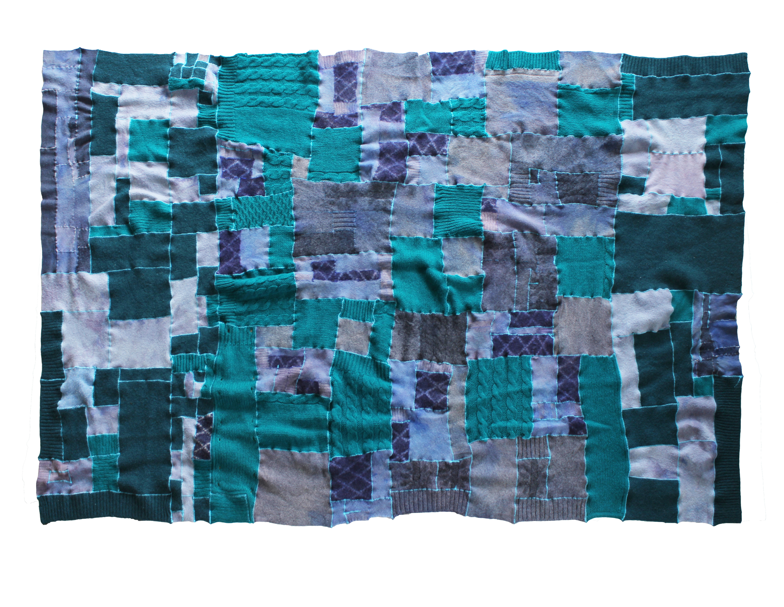 "no. 5, reclaimed wool, cashmere, 2014, 80""x54"""