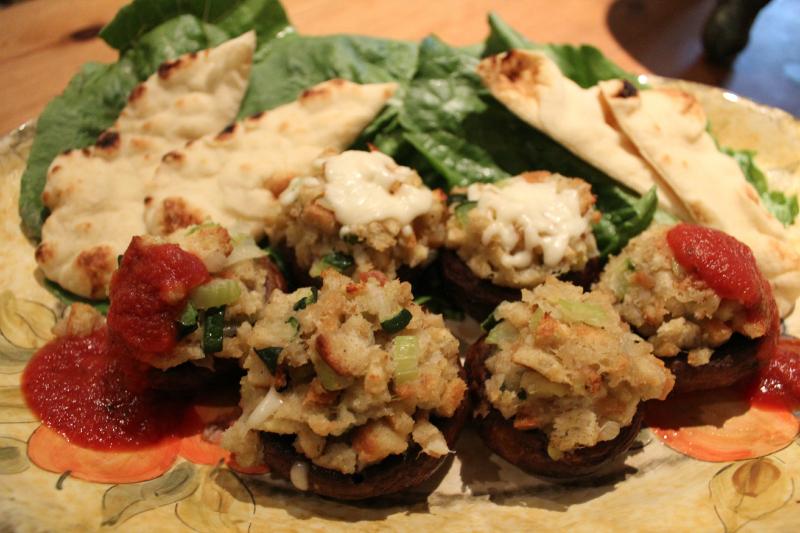 Stuffed Baby Portobello Mushrooms,Topped w/ marinara Sauce, Mozzarella Cheese & Plain garnished w/Naan Bread