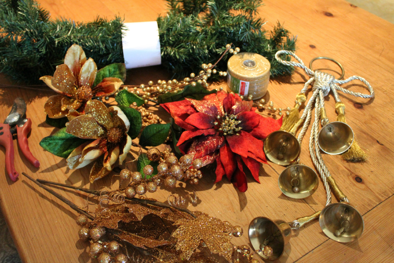 Here I used a 9' artificial garland bundle, & examples of what you may have on hand to use.