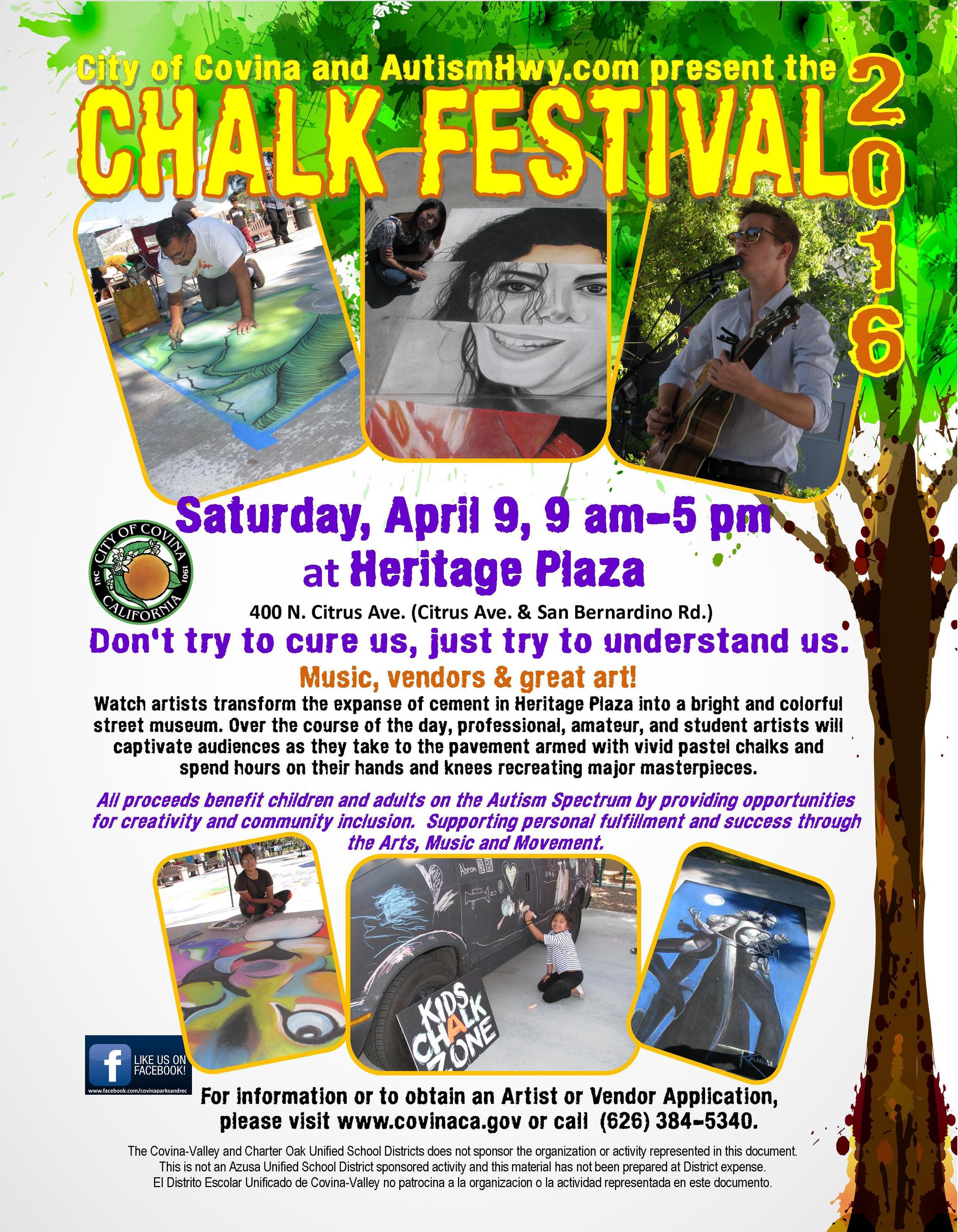 Chalk art festival for Autism Covina
