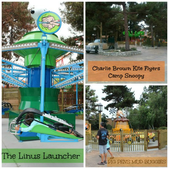 Camp Snoopy's 3 New Rides! The Linus Launcher, The Charlie Brown Kite Flyers & Pig Pens Mud Buggies.