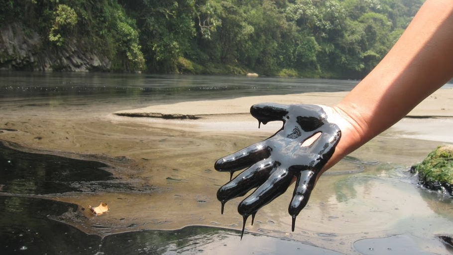 dirty oil hand