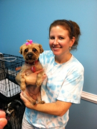 Karen is holding Kasey! She looked so pretty after being groomed at Lucky Pups!