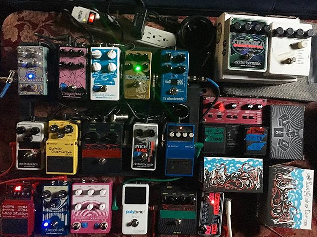 Instruments of  THE DEAD DON'T DIE Vol. 4: A load of....Pedals!!! Sounds sculpted with these integral mystical boxes and more.  In particular we used a lot of @earthquakerdev for this one.  @thedeaddontdie is NOW PLAYING in:  Poland!!! Netherlands!!! UK. Ireland. Russia. USA, France, Germany, Italy, Austria, Portugal, Spain, UAE  USA: Digital drops September 3 BluRay and DVD drops September 10  Score available from @backlotmusic (digital) and @sacredbones (vinyl pre-order)