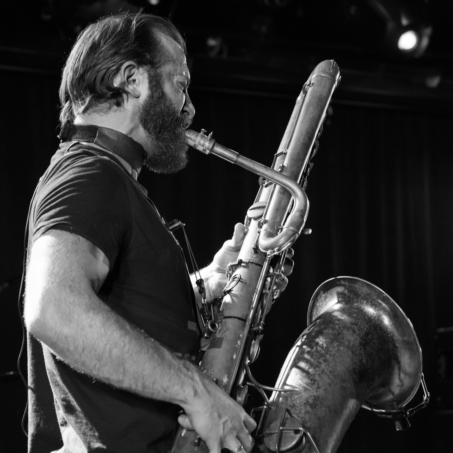 Colin Stetson on saxophone, performing at (Le) Poisson Rouge on Wednesday night, January 13.