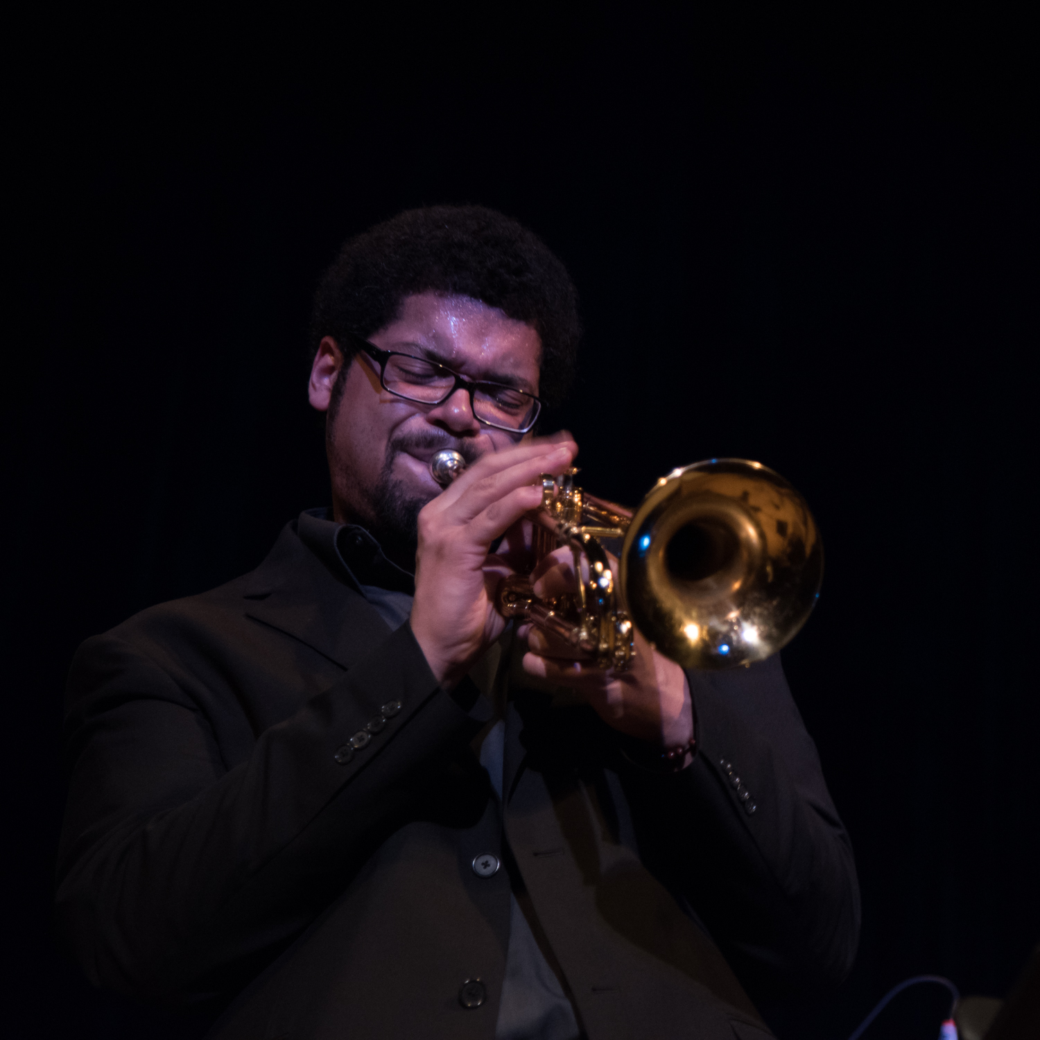 Josh Evans performing at New School Auditorium, January 15.