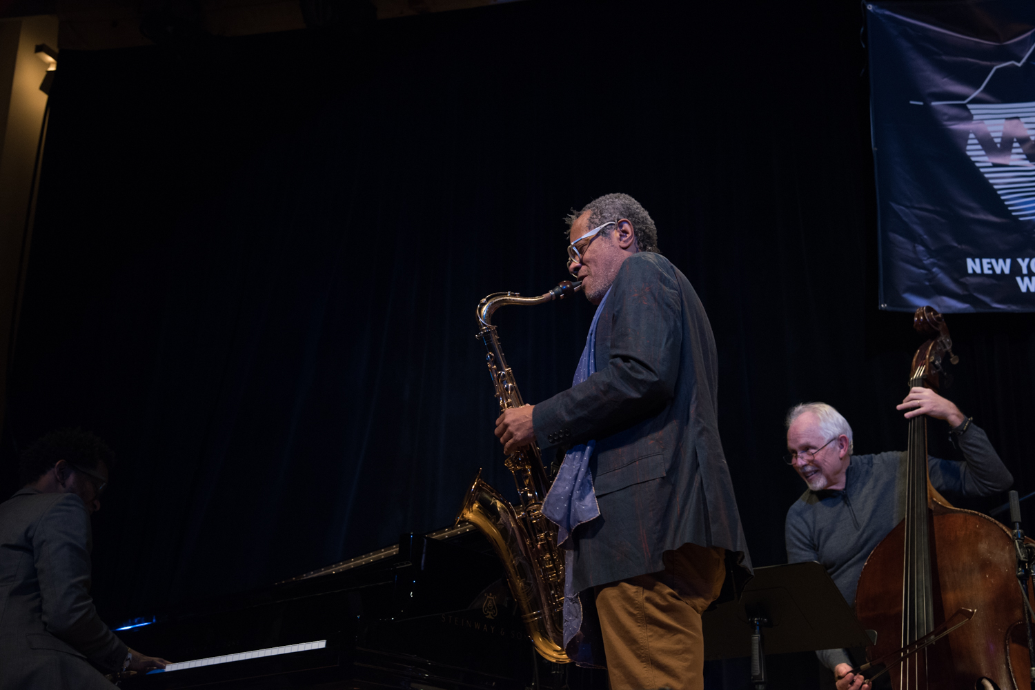 Aruan Ortiz (piano), Don Byron (saxophone) and Cameron Brown (bass) performing at New School Auditorium - 12th Street, January 16.