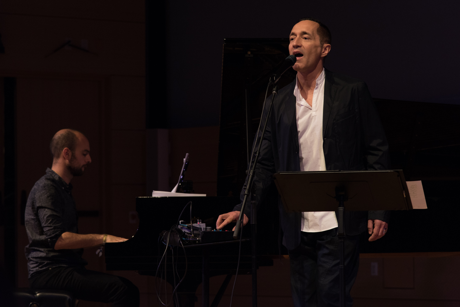 Shai Maestro (piano) and Theo Bleckmann (vocals) performing at New School Tishman Auditorium - ECM Records Stage, January 16.