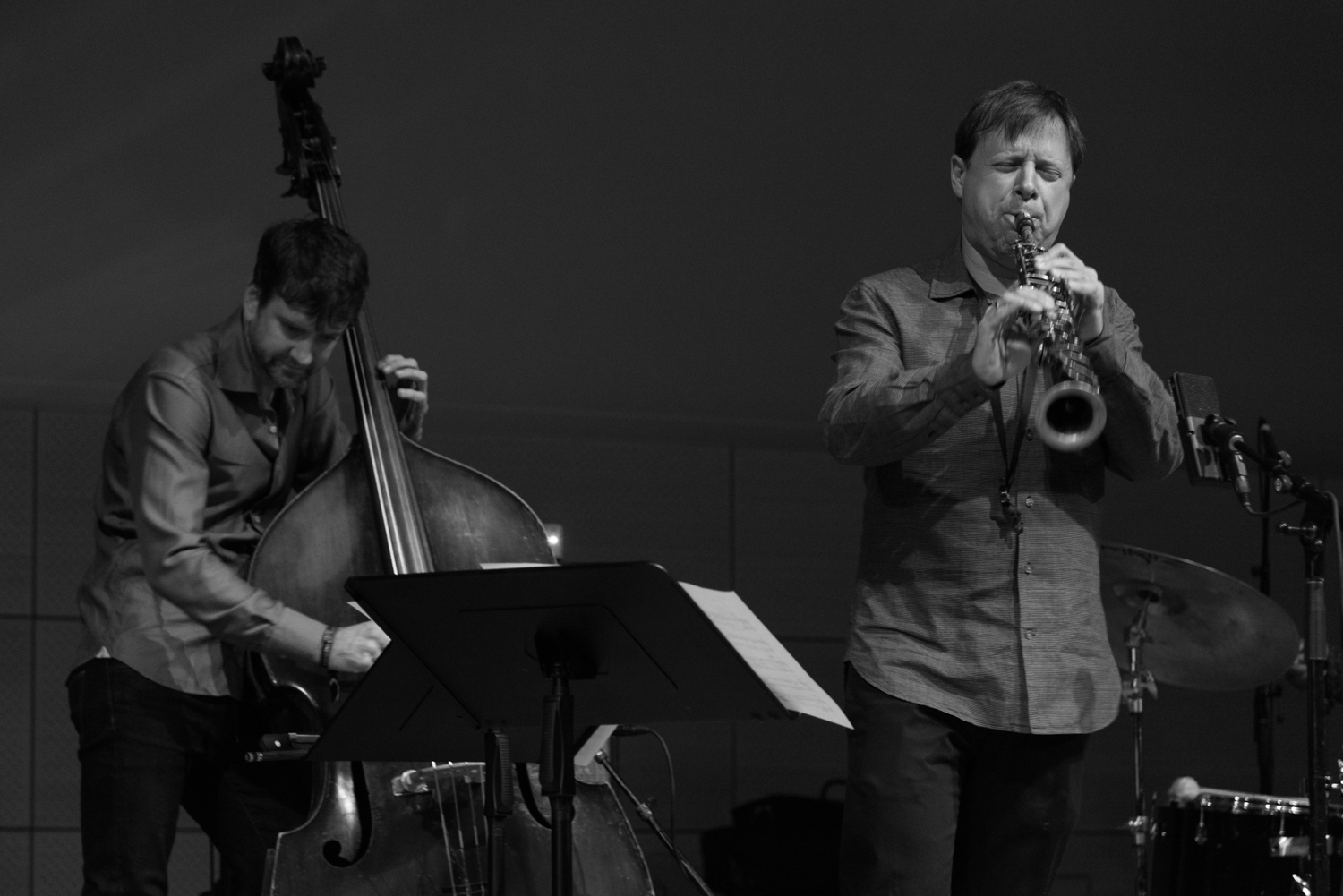 Joe Martin (bass) and Chris Potter (saxophone) performing at New School Tishman Auditorium - ECM Records Stage, January 16.