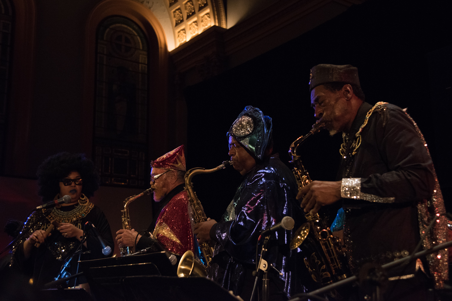 Sun Ra Arkestra directed by Marshall Allen - Tara Middleton (voclas), Marshall Allen (alto sax), James Stewart (tenor sax) and Knoel Scott (tenor sax) performing at Judson Church, January 16.