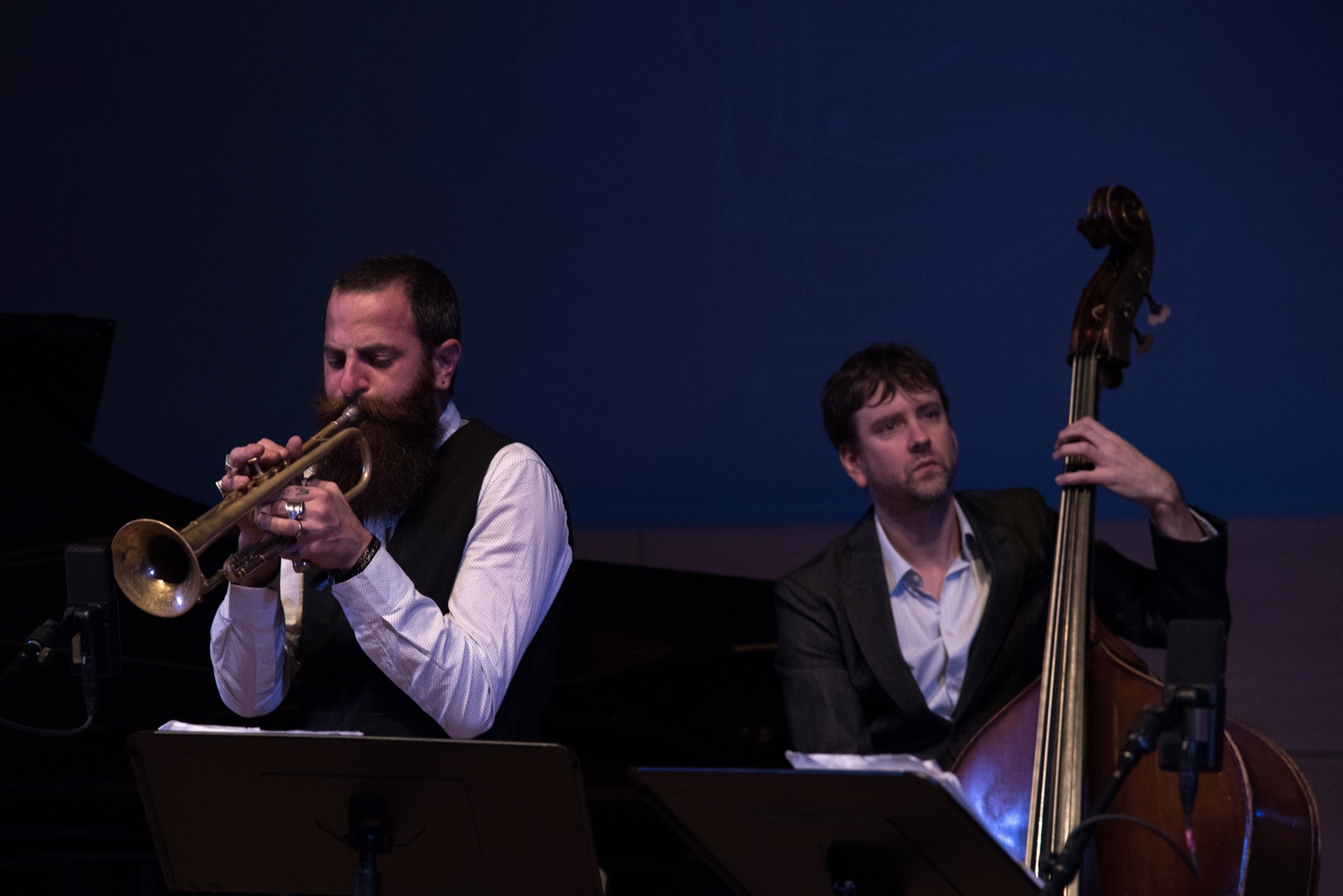 Mark Turner Quartet - Avishai Cohen - trumpet, and Joe Martin - bass, performing at New School Tishman Auditorium - ECM Records Stage on Friday night, January 15.