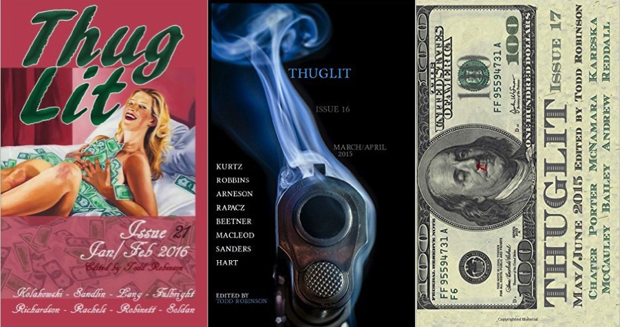 Recent  Thuglit covers pretty much tell you what's inside.