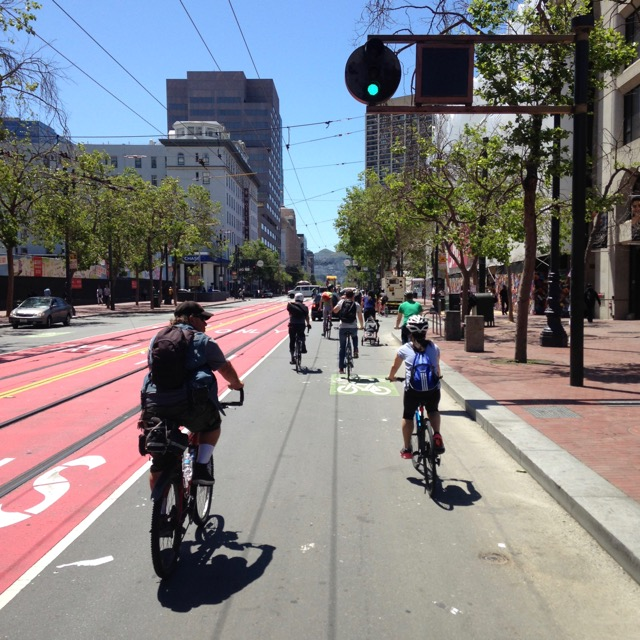 Cruising up Market St. Photo by Kaveh