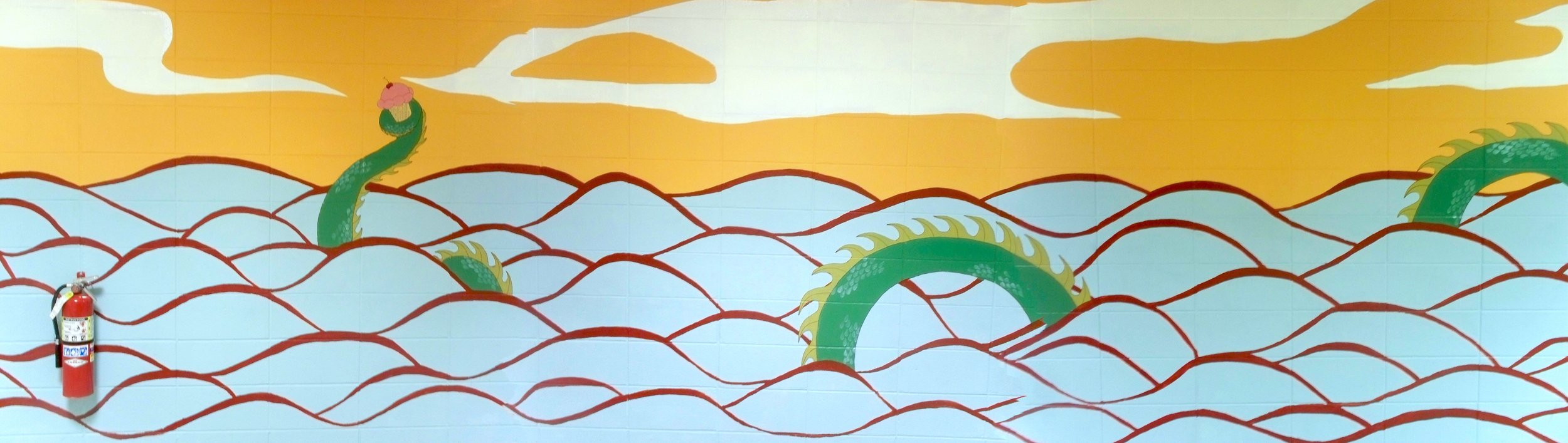 Dragon mural at Bridgham Middle School
