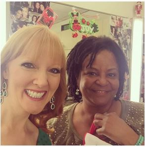 Amy Sewell and Pauline Terry, makeup artist at CBS Los Angeles.