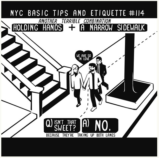 "Illustration by Nathan W. Pyle, ""  NYC Basic Tips and Etiquette  """