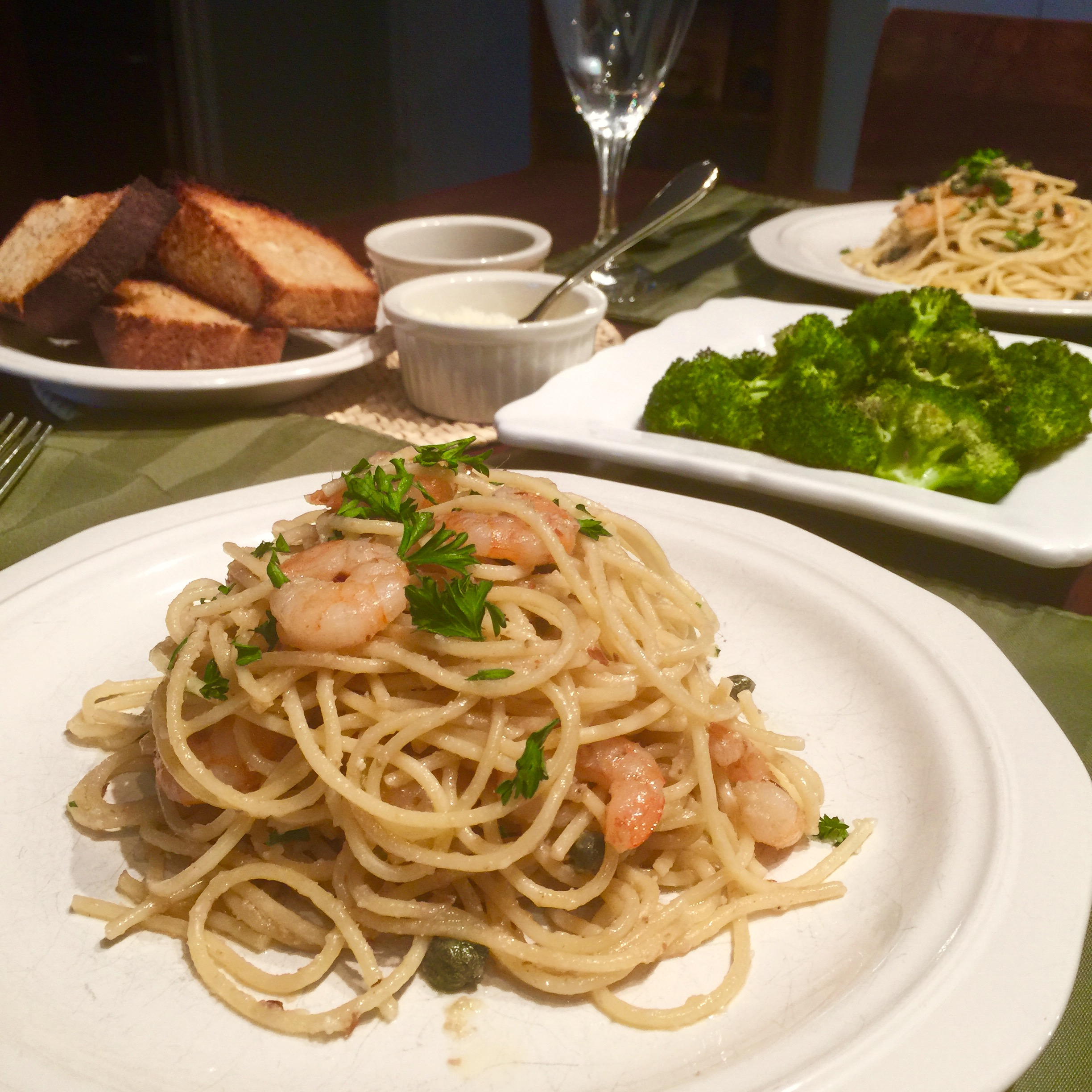 Savory Shrimp Pasta and Roasted Broccoli