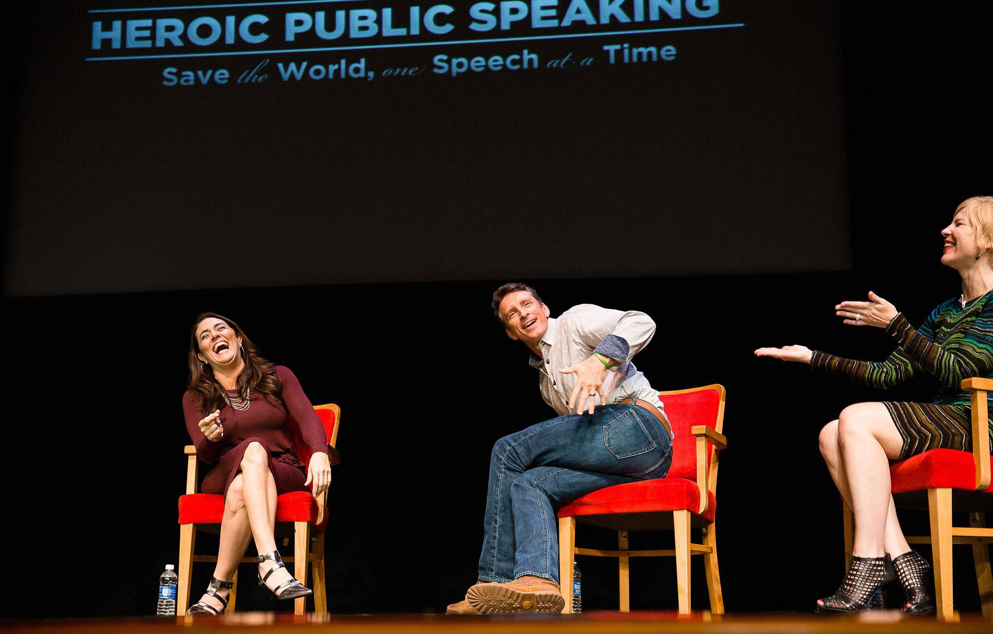 Elizabeth making the panelists laugh - better language here but focus on behavior