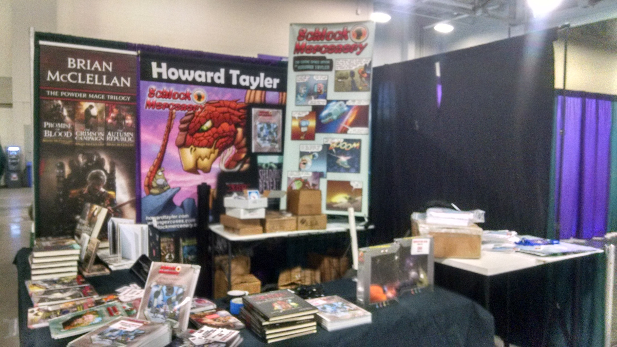 A blurry photo of the booth during set up.