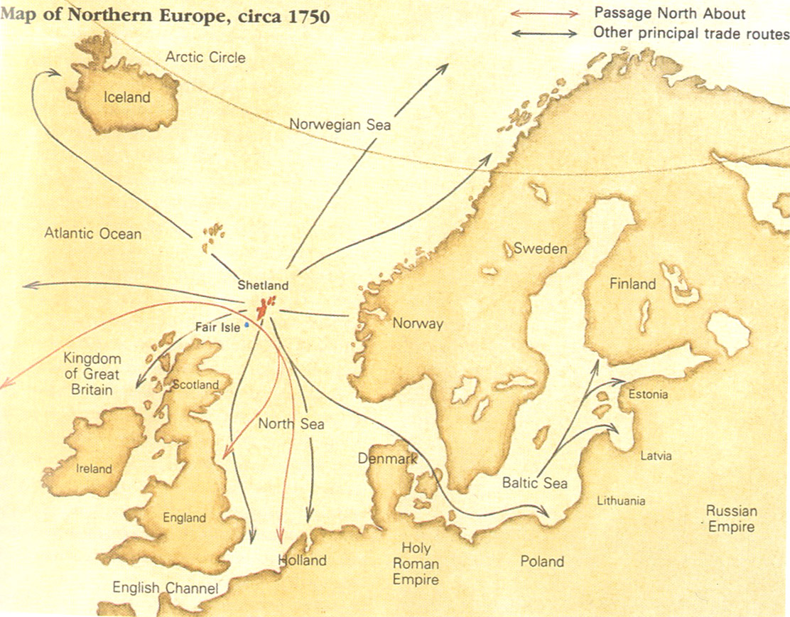 Map illustration from  Alice Starmore's Book of Fair Isle Knitting (p.11)  showing how Shetland was connected to other knitting rich areas of Northern Europe by sea trading routes.
