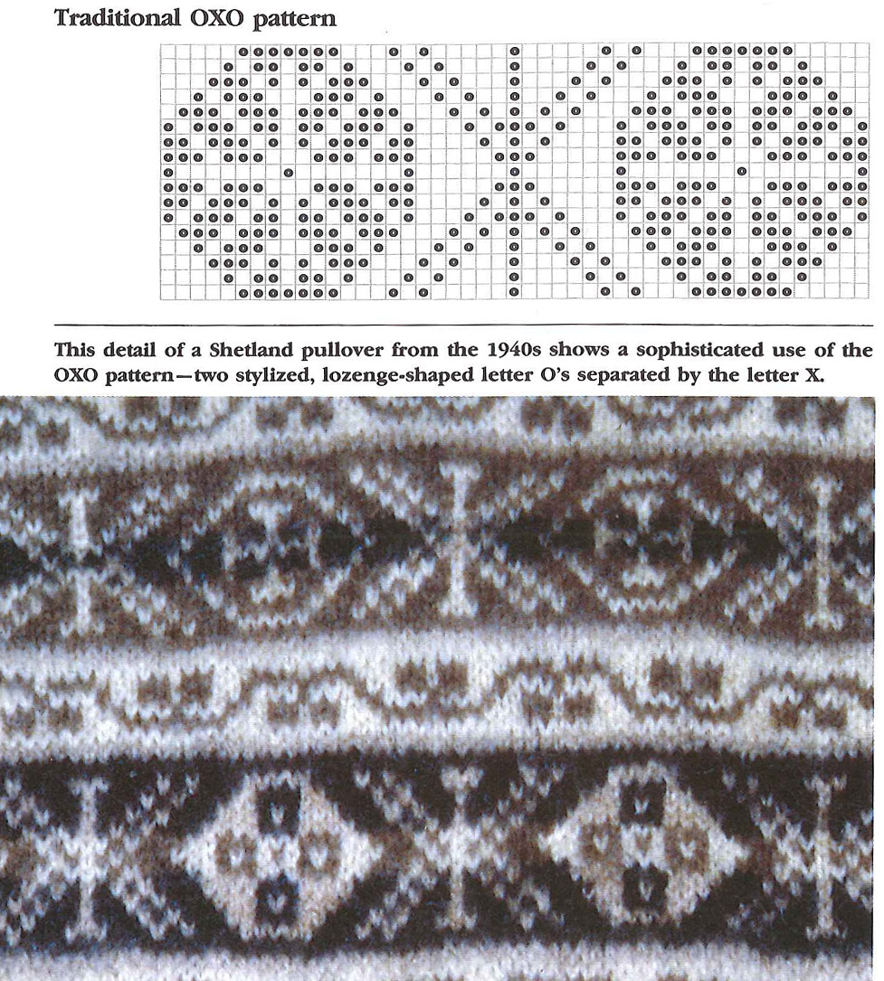 Excerpt from  Alice Starmore's Book of Fair Isle Knitting showing traditional OXO pattern (p.12)