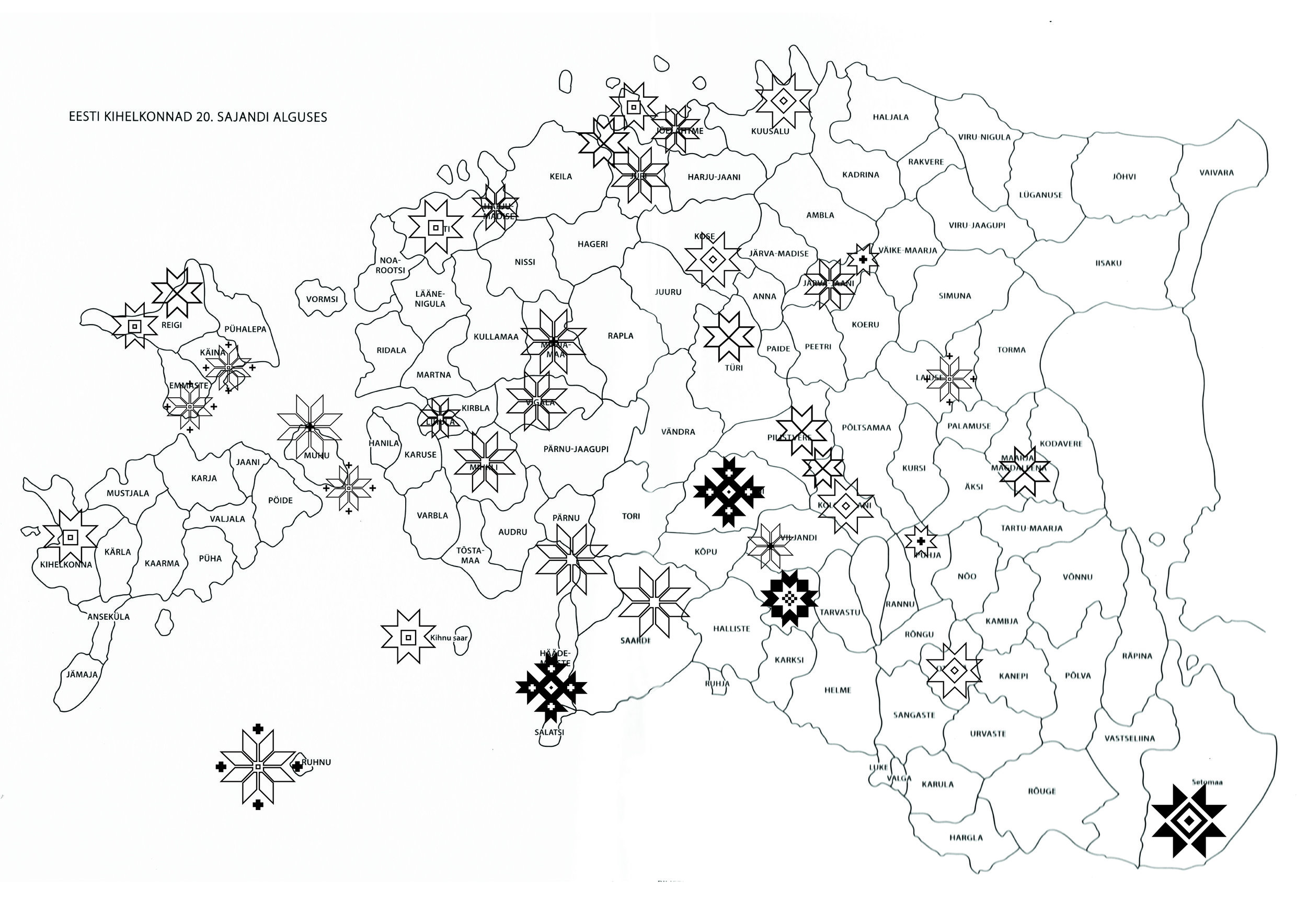 Map of Estonian parishes in the beginning of the 20th century overlaid with motifs.