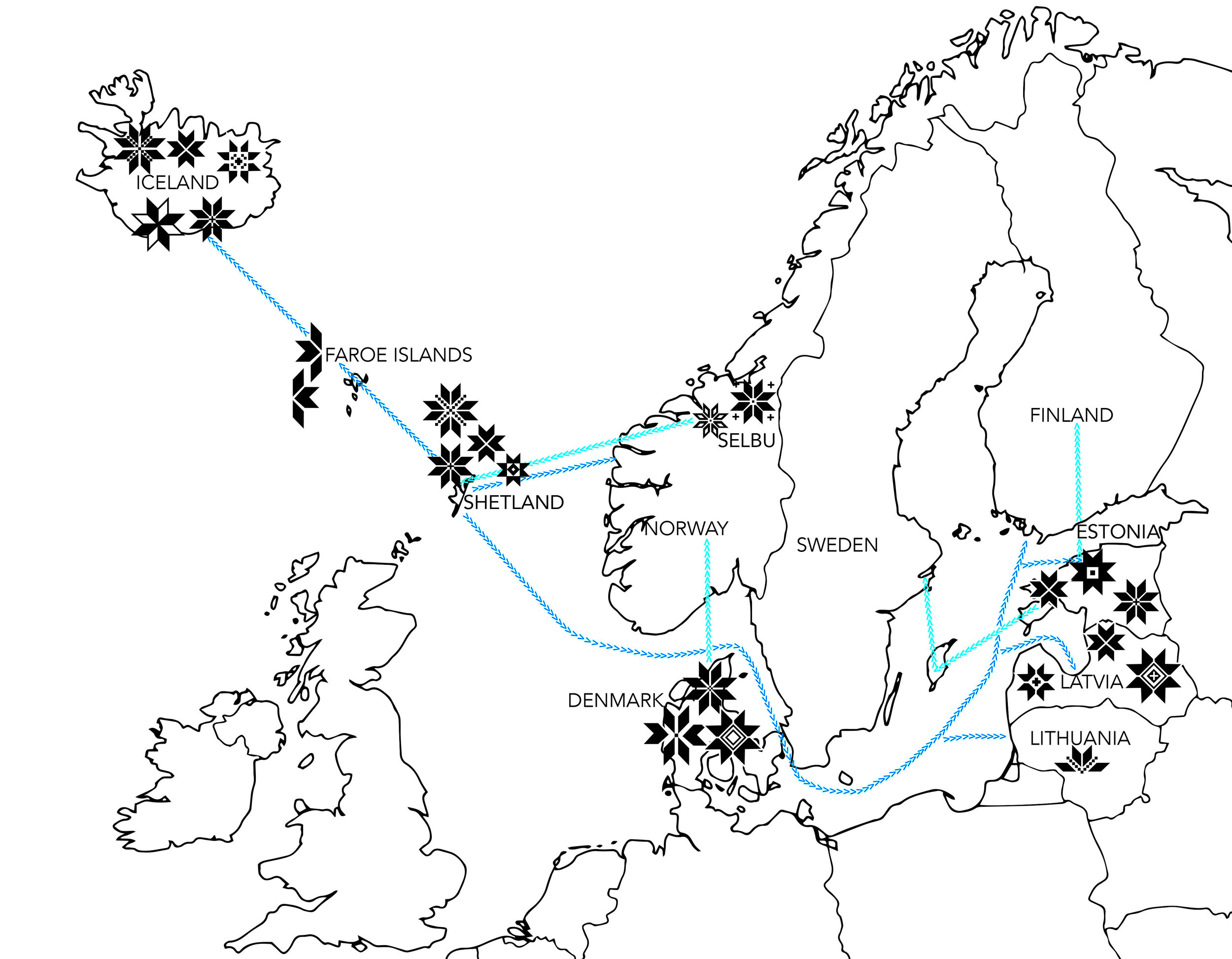 Map of eight point star motifs (sourced from books)with some known sea trade routes
