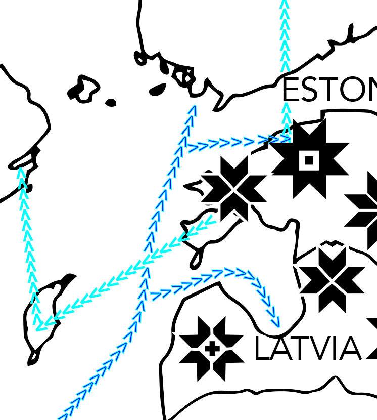 Lines/ routes made of v's to to mimic knitting stitches but also provide direction of movement. The Darker blue are routes from Shetland from a map from  Alice Starmore's Book of Fair Isle Knitting  and the lighter blue lines represent routes written about in Shelia McGregor's  Traditional Scandinavian Knitting.