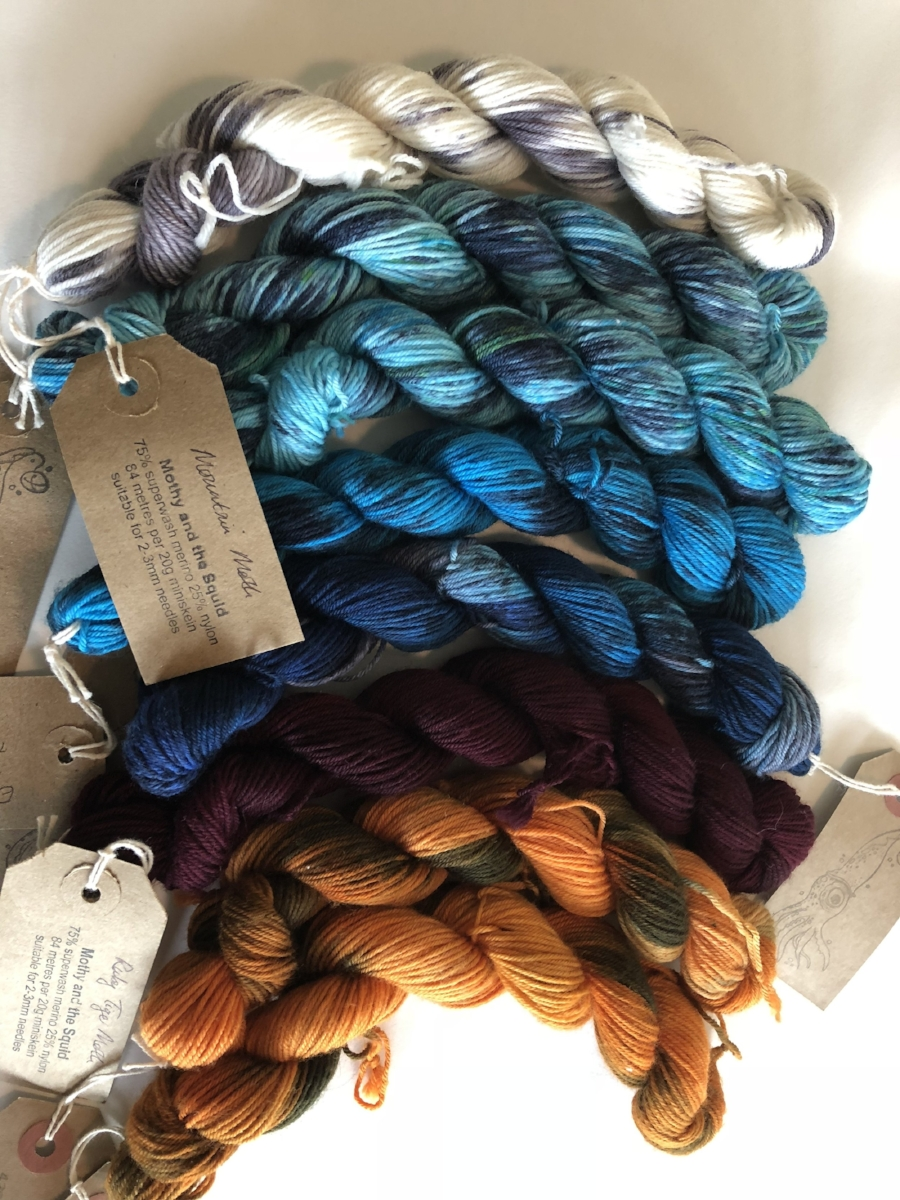 Mothy and the Squid mini sock skeins