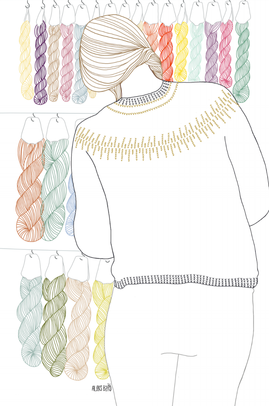 A quick illustration I made of a knitter shopping at The Little Grey Sheep's booth in a lovely yoke sweater.