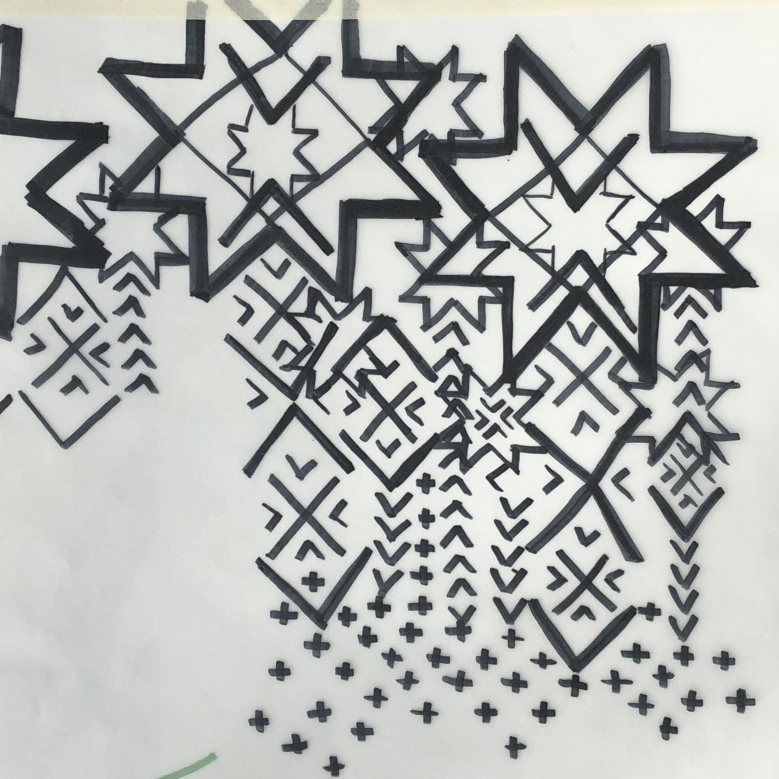 Starting point- tracing paper of traced layered motifs