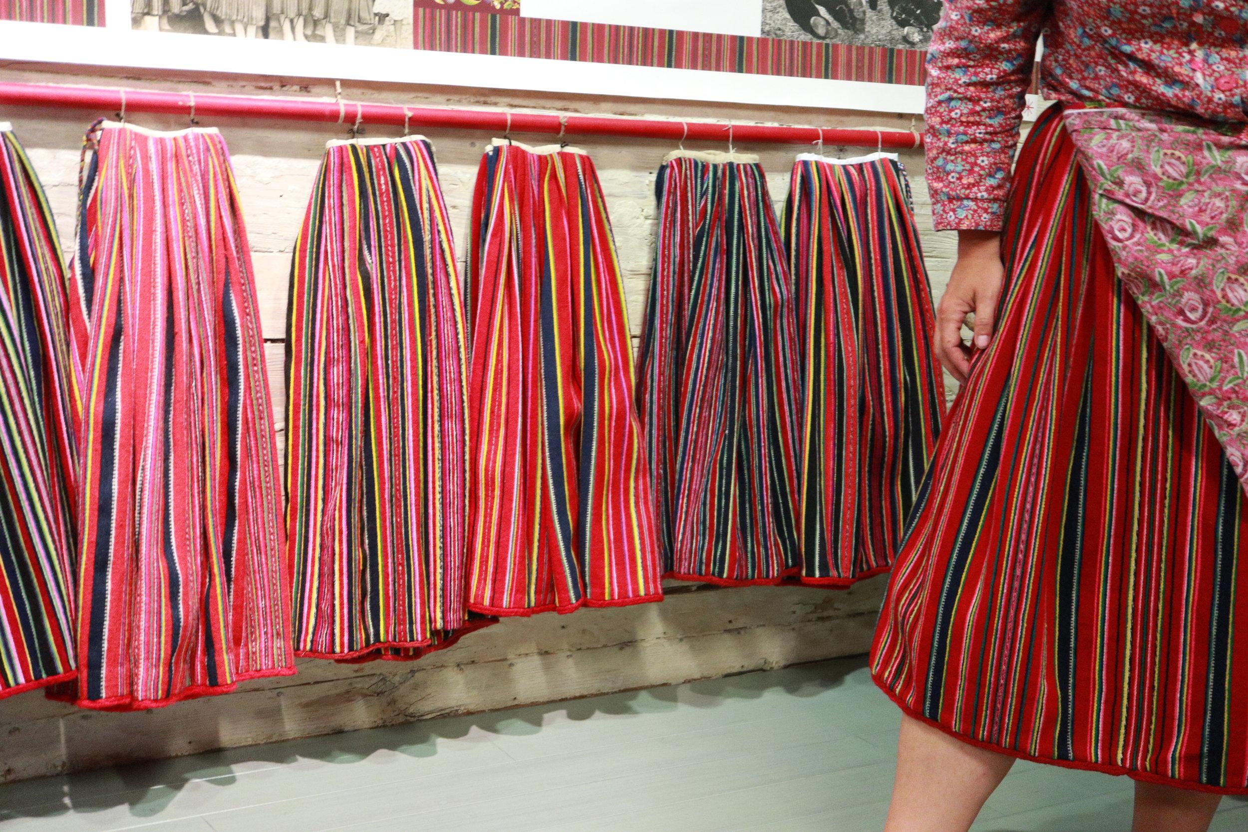 Display of skirts from various decades at the Kihnu Museum   Siin on seelikud üle aegade Kihnu muuseum 'is