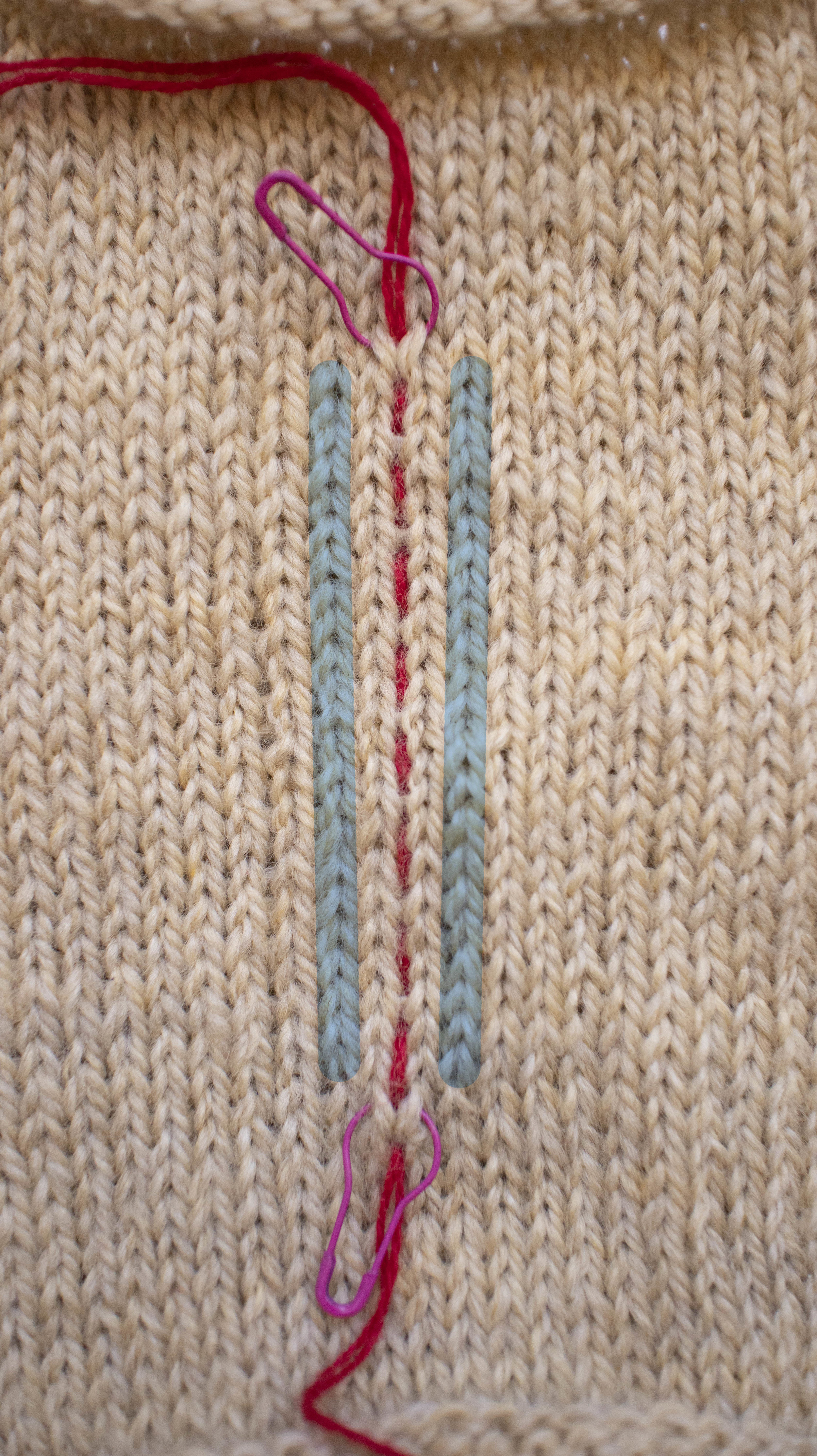 The blue stripes are the columns of stitches ( half a leg from two columns of stitches) that will be crocheted.
