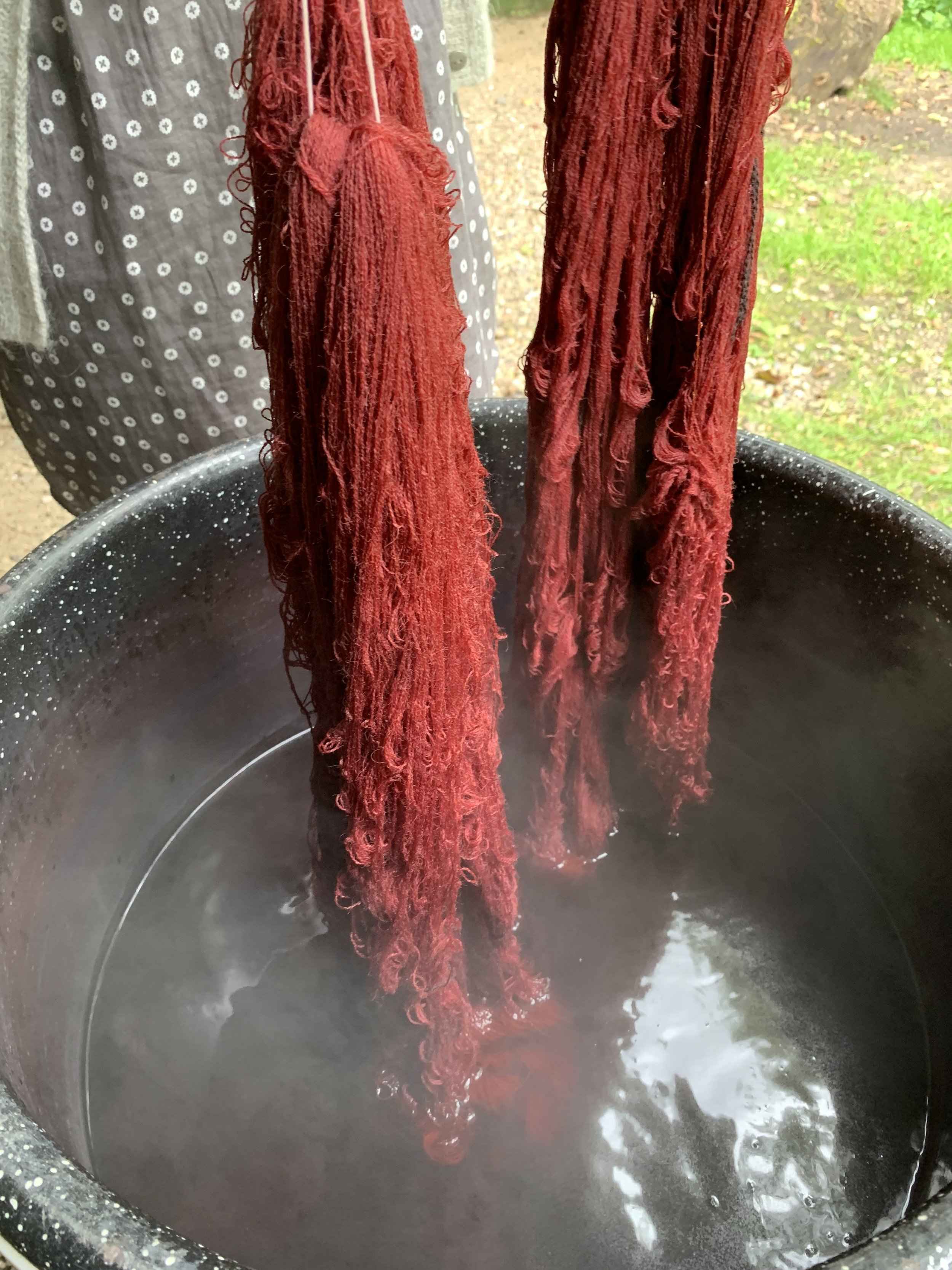 After an hour in the dye pot at 80C the skeins are ready to be hung to dry. Just look at that beautiful colour!