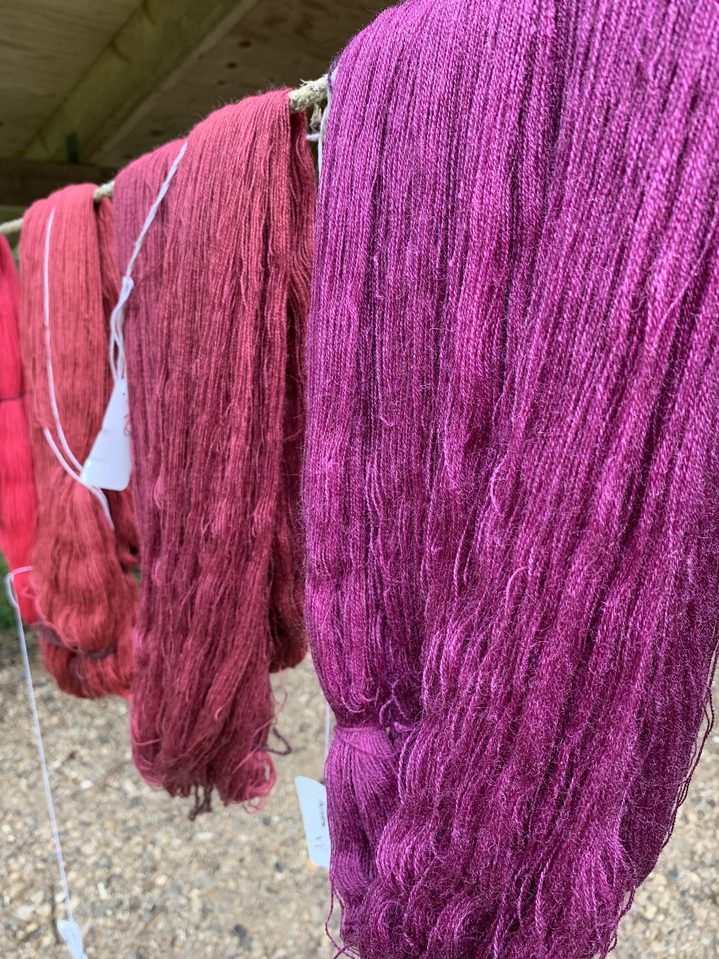 On the left is the original cochineal colour and on the right is the cochineal post potash bath