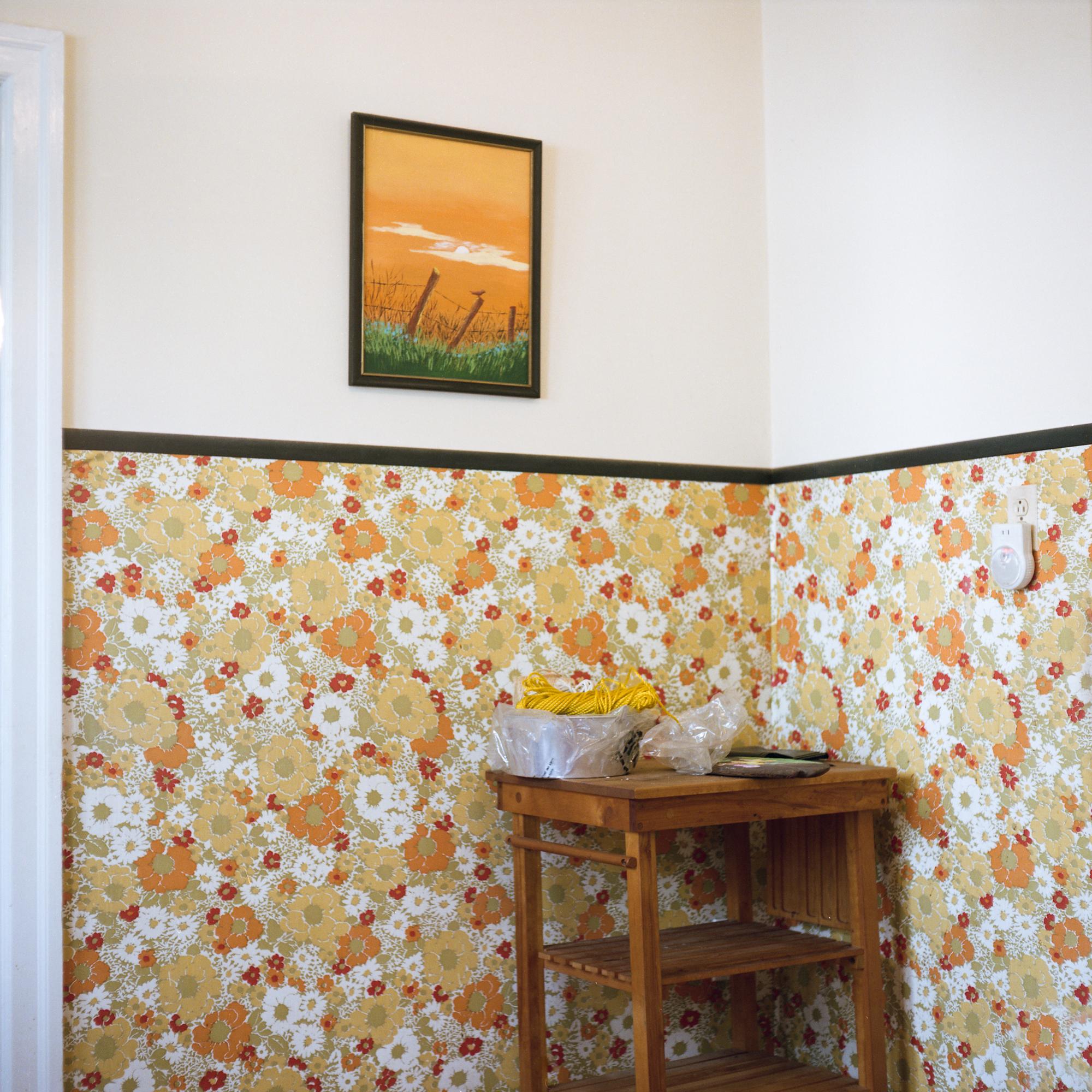 Orange painting hanging in orange kitchen