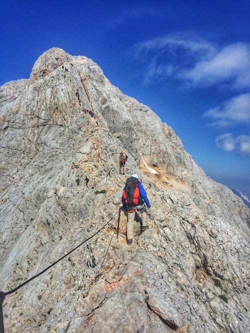 Via Ferrata on ridge toward Triglav Summit