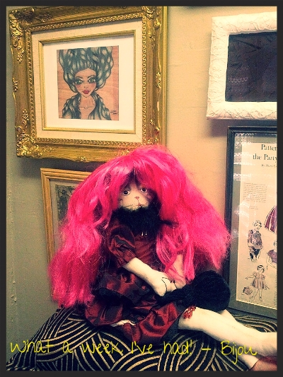 """""""What a week I've had!"""" Bijoux (Director of Hairy Affairs) taking a much needed break in our vintage photo booth."""