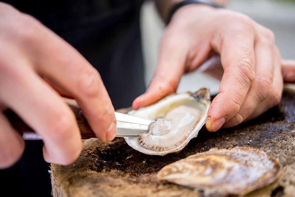 oyster station - Add an oyster shucking station to any event! Fresh Oysters shucked right it front of you, served with fresh lemon and house made sauces.