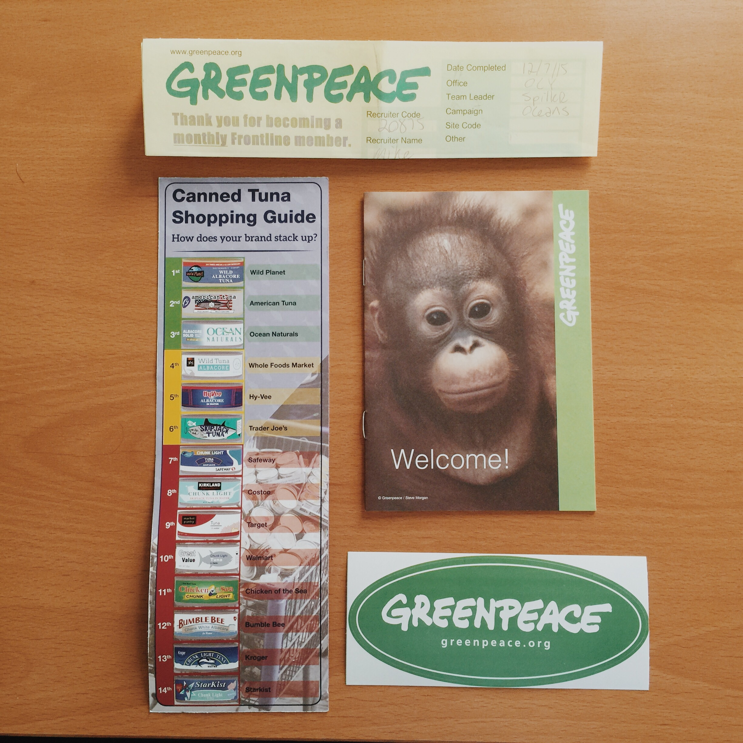 My welcome packet from GreenPeace.